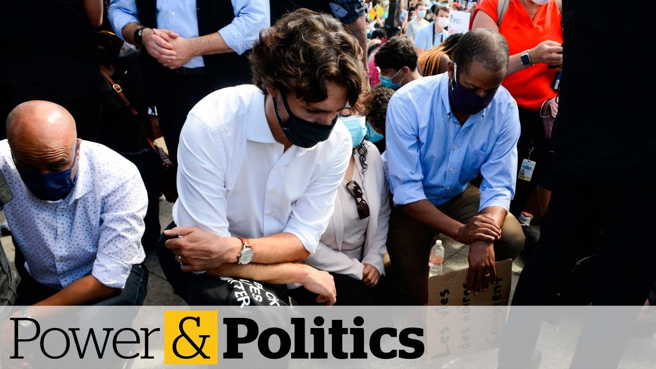 Trudeau takes a knee at anti-racism protest on Parliament Hill