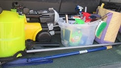 Equipo de Limpieza de casas que traigo en el carro, Productos favoritos que no puede faltar,etc
