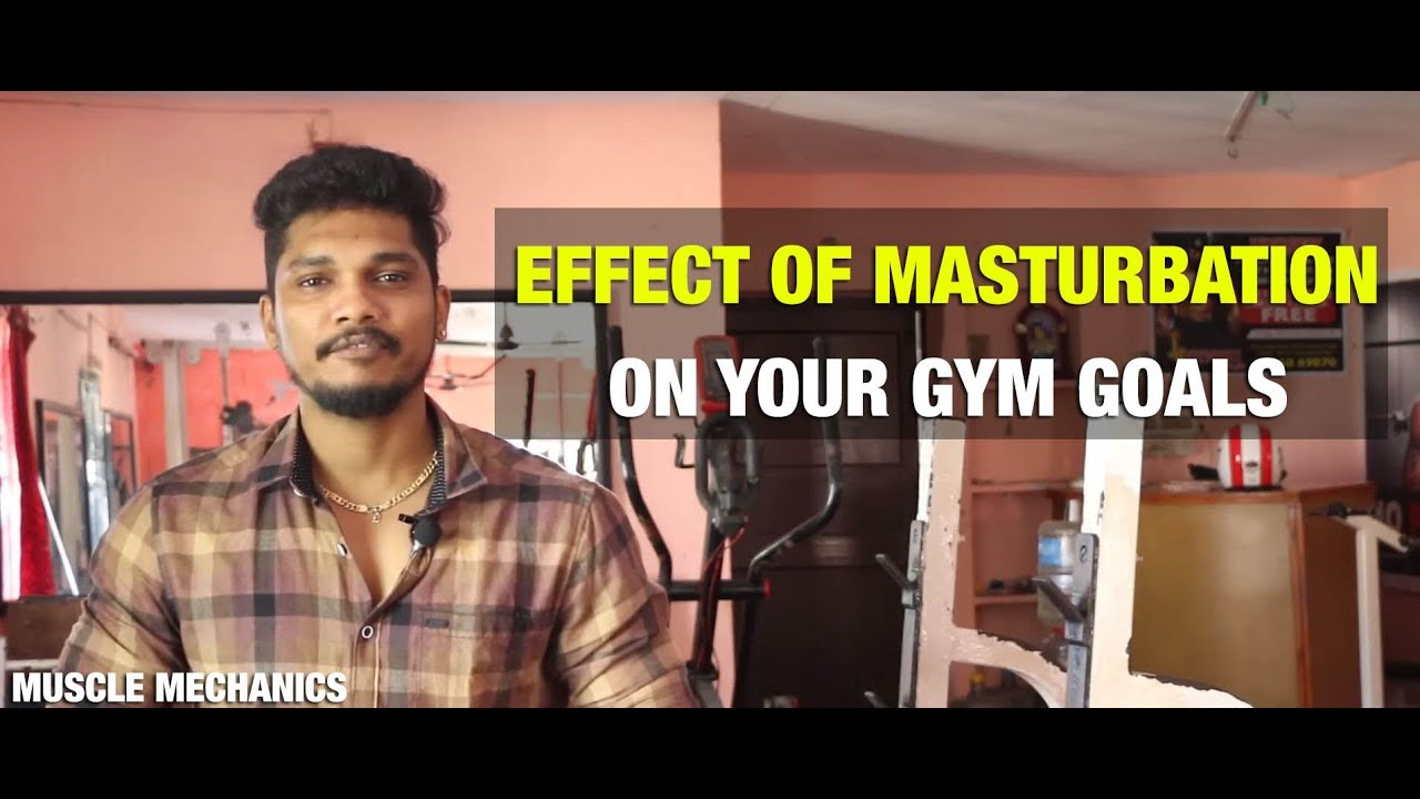 Male masturbation at the gym