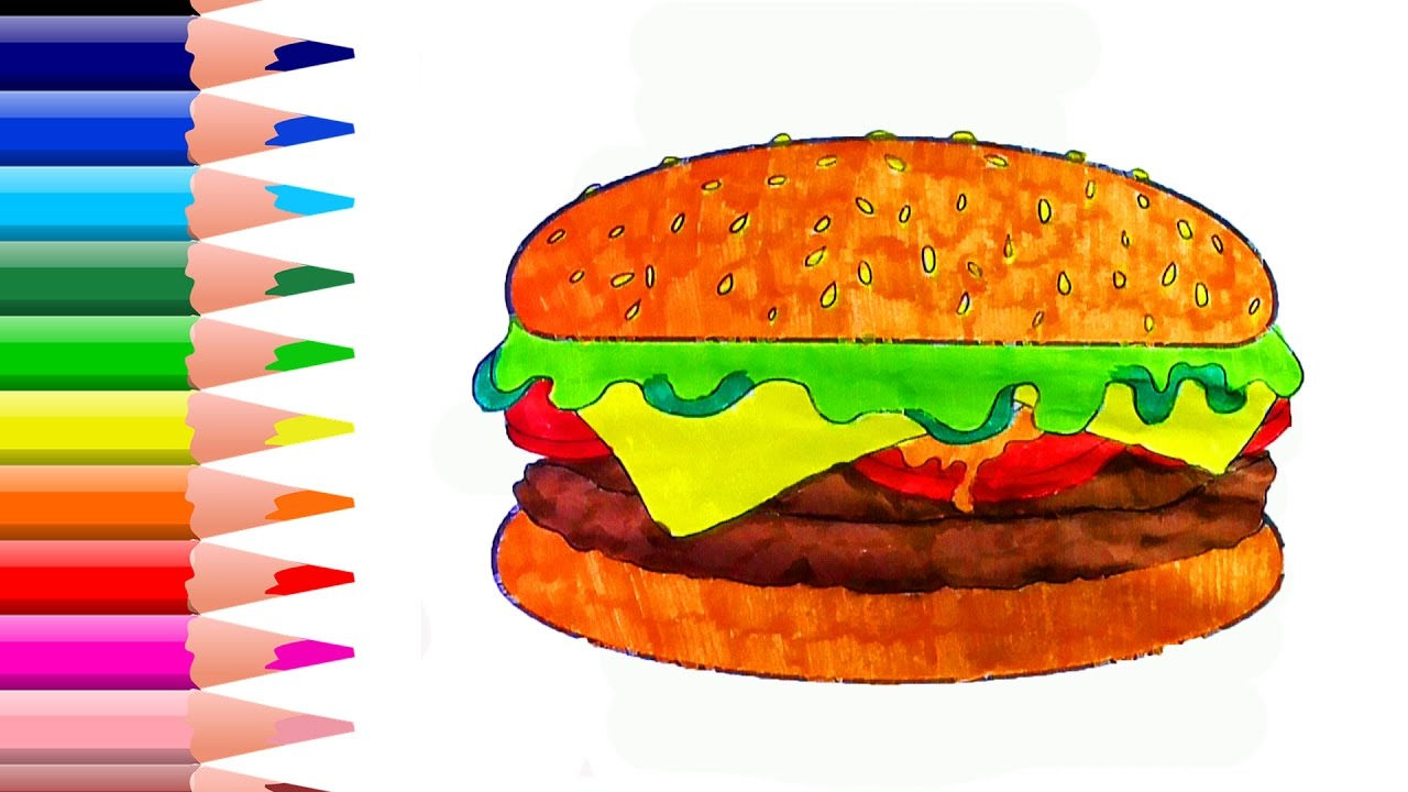 coloring pages hamburger drawing fast food art colours for