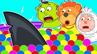Lion Family   Faces Baby Shark in Colored Ball Pool   Cartoon for Kids