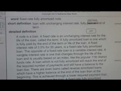 fixed-rate fully amortized note CA Real Estate License Exam Top Pass Words VocabUBee.com