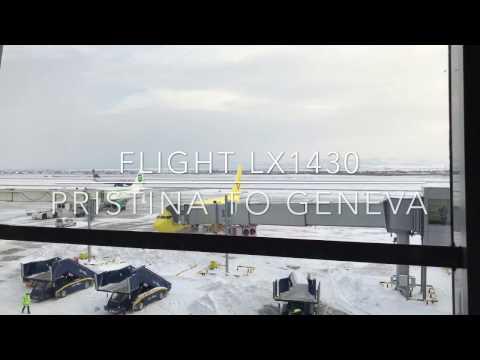 4K - Full flight LX1431 Swiss Airbus A320 from Pristina to Geneva