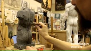 Лепка обрубовки торса - Обучение скульптуре. Фигура, 9 серия