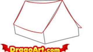 How to draw a tent, step by step