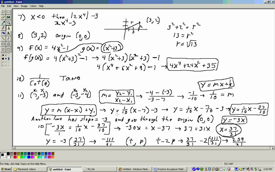 Acuplacer Math Placement test 2 (College Level section) Part 2 - YouTube