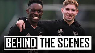 🥜 Hard work & an outrageous nutmeg from Reiss Nelson | Behind the scenes at Arsenal training centre