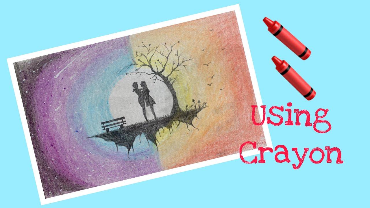Amazing love scene drawing using crayon wax #Love