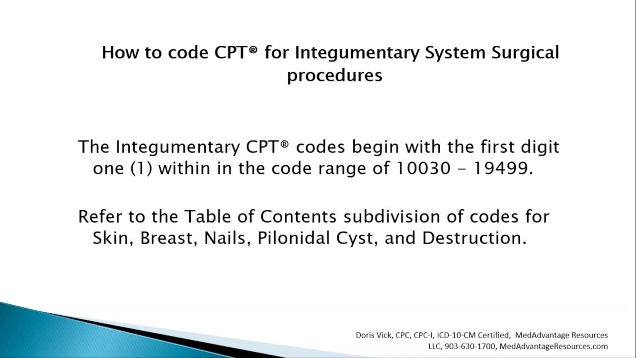 How to code cpt for integumentary system surgical procedures how to code cpt for integumentary system surgical procedures xflitez Image collections