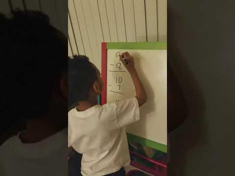 Kayden practicing subtraction