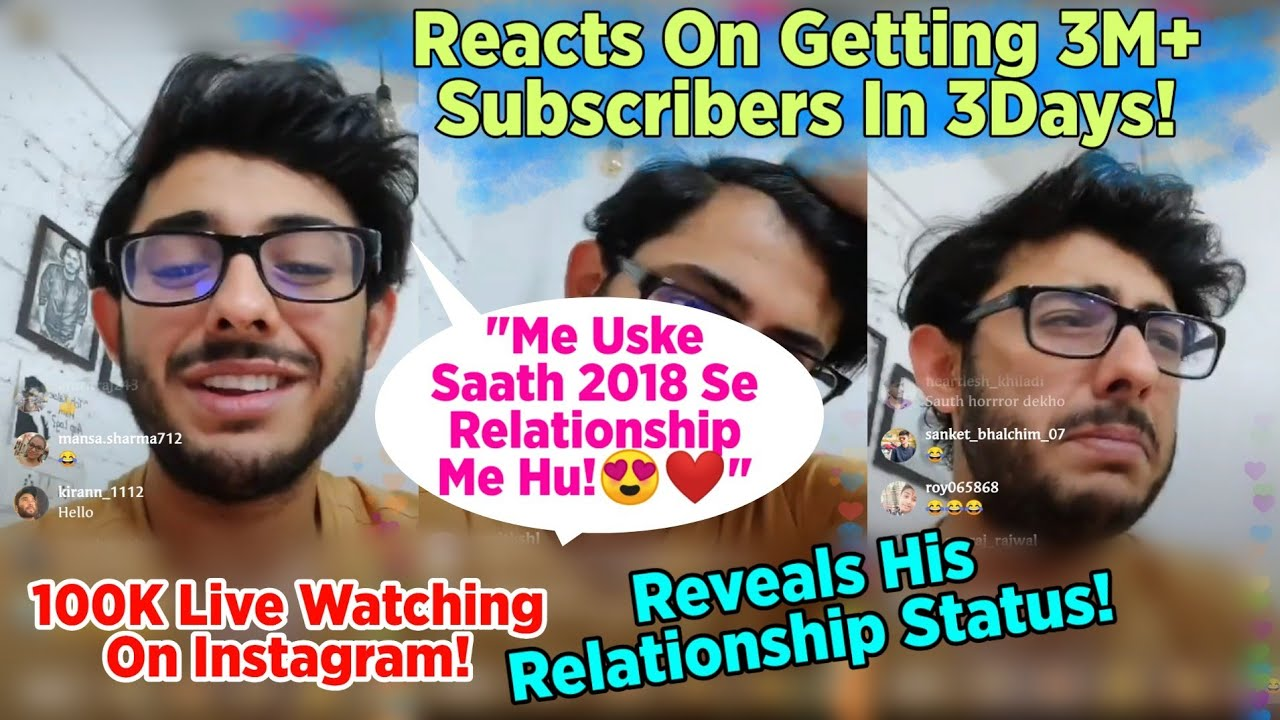Carryminati's Reaction On Getting 3M+ Subscribers In 3 Days! | Reveals His Relationship Status!