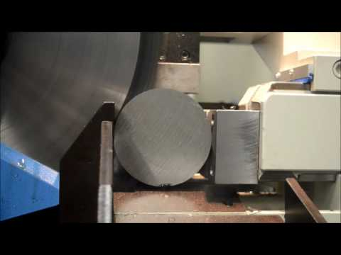 Kinkelder carbide circular saw cutting a stainless steel billet in seconds!