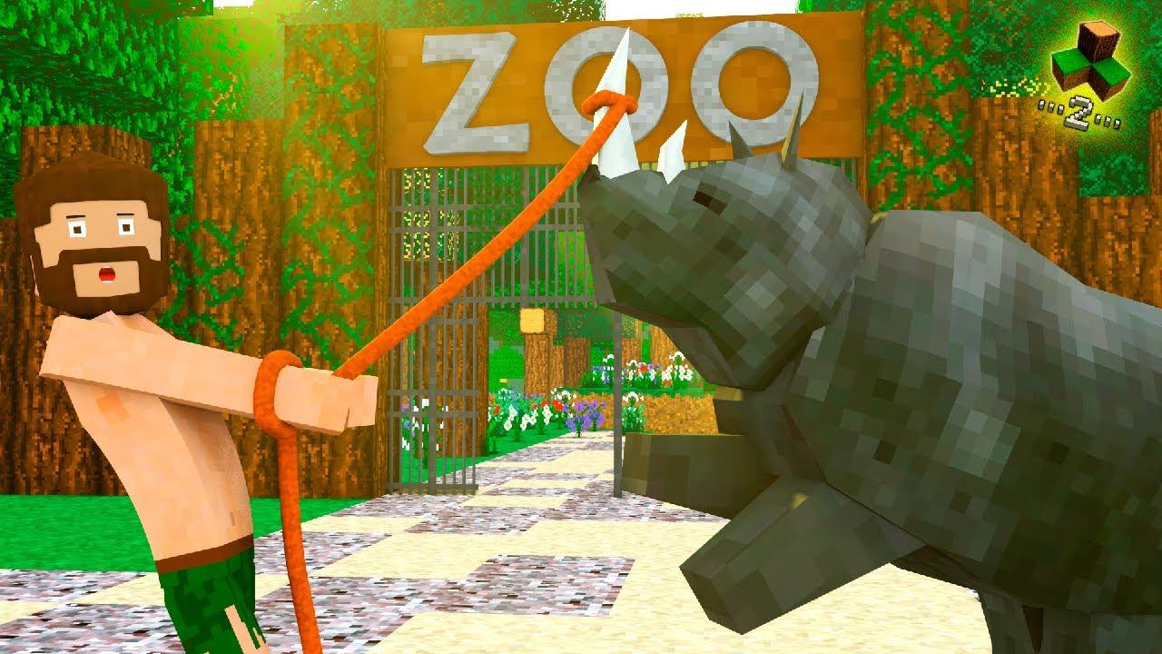 COLOQUEI O RINOCERONTE NO ZOOLÓGICO!!! Survivalcraft 2 / Os Selvagens #44