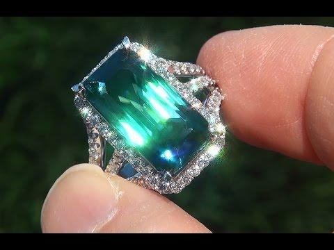Download musik GIA Certified Natural FLAWLESS Neon Blue Zircon & Diamond 18k Gold Vintage Ring - A141413 Mp3 gratis