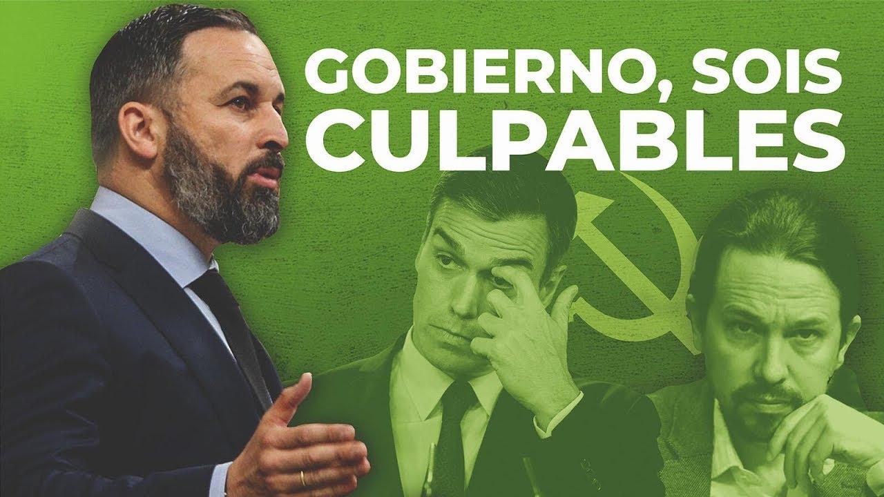 "Santiago Abascal acusa al Gobierno: ""Sois culpables"""