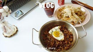 vlog/미니오븐으로 귤칩 만들고 찹쌀탕수육 만들어 먹…