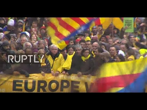 LIVE: Pro- Catalan independence protesters rally in Brussels