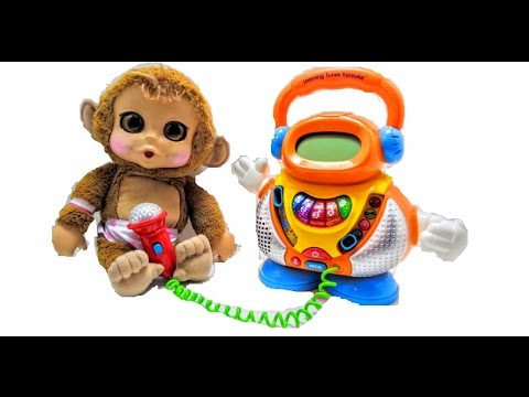Monkey Sings Letter Fun Song with Karaoke Machine Version Video Learn to Sing