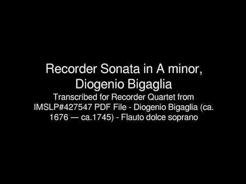 Recorder Sonata in A minor, Diogenio Bigaglia