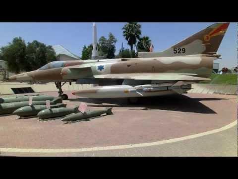 Vulcan SUU-23 20mm Gun Pod and display of Aircraft bombs & AA missile & IAI Kfir.