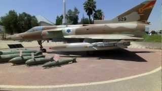 Vulcan SUU-23 20mm Gun Pod and display of Aircraft bombs & AA missile & IAI Kfir.