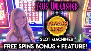 Zeus Unleashed Free Spins BONUS!! Even Better Line hit on Dragon Link Slot Machine!!