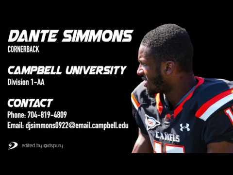 Dante Simmons #17 Cornerback Campbell University Highlights 2017