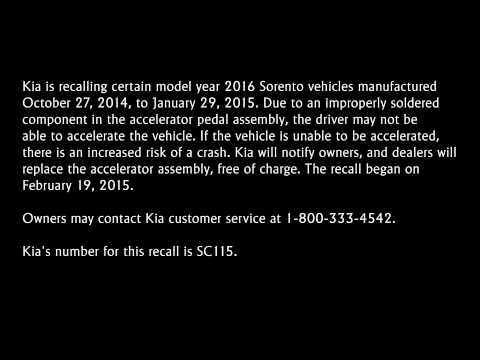 2016 Kia Sorento Recall Solder Issue In Accelerator Pedal Assembly