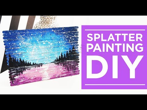 Acrylic Landscape Painting Lesson, Stir Stick DIY Craft for Kids, Splatter Technique