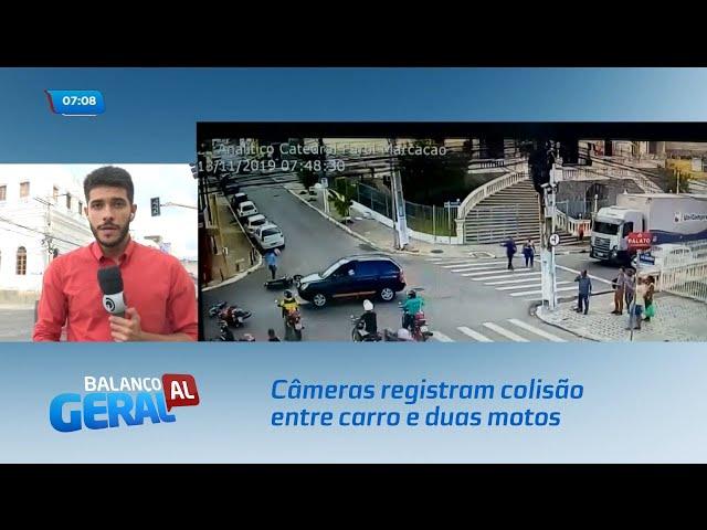 Câmeras registram colisão entre carro e duas motos na Ladeira da Catedral