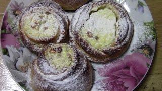 Сладкие булочки из дрожжевого теста с творогом.Выпечка рецепт