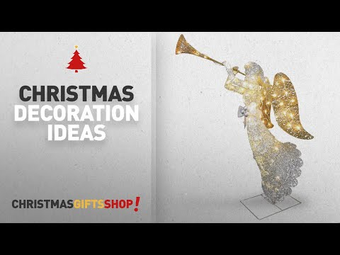 Top Angel Outdoor Christmas Decorations: National Tree 48 Inch Crystal Angel with 70 Clear Mini