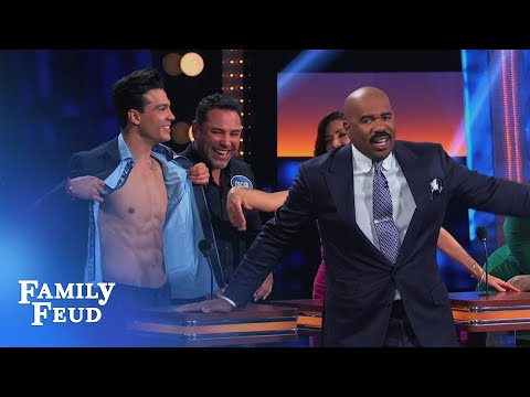 Focus on Ray's ABS... not his ANSWER! | Celebrity Family Feud