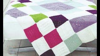 плед цветной узор 6 Crochet Blanket Squares вязание крючком