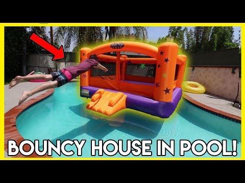 THROWING GIANT BOUNCY HOUSE IN POOL!!! (dangerous)