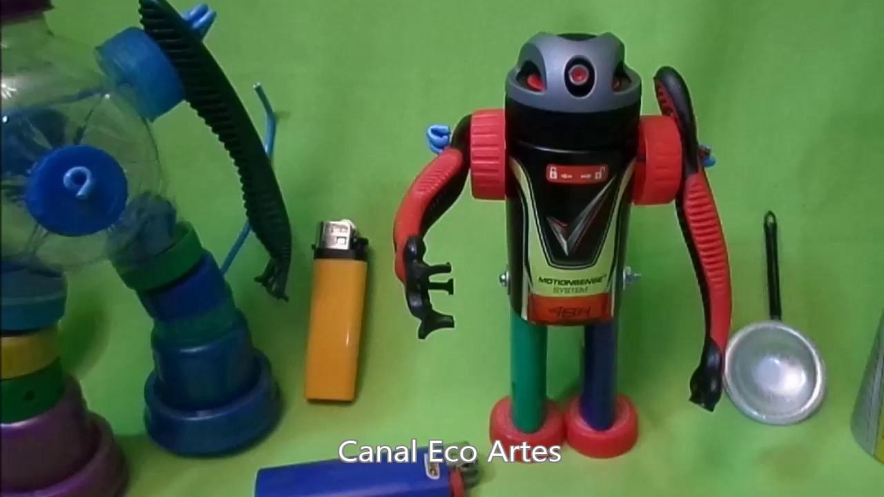 Como Fazer Robô Articulado Com 04 Tipo De Materiais Reciclados