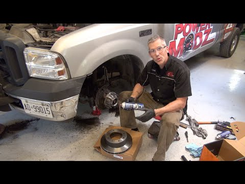ford f350 front wheel hub replacement and brake install  powermodz!