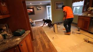 "Installation Of 4"" X 21"" Porcelain Tile That Looks Like Wood Nj Kitchens And Baths"