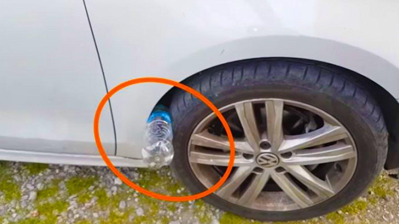 تحذير ، إذا رأيت زجاجة بلاستيكية على إطارات سيارتك ، لا تحاول لمسها