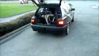 hg race car vw golf mk3 vr6 bi turbo rwd mid engine stupid burnout action season 2008