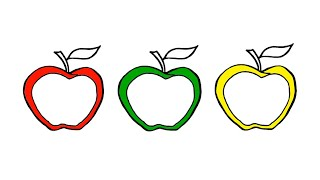 Apple Coloring Pages for Kindergarten Learning Colors with Fruits