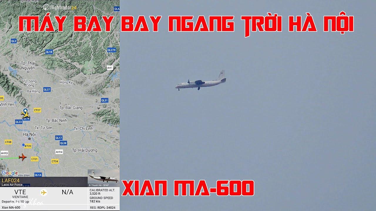 Máy bay Xian Ma-600 của Laos Air Force trên bầu trời Hà Nội.