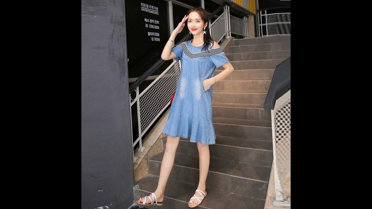 Đầm jeans QAFashion   Đầm jeans hở vai đuôi cá phối thun sọc