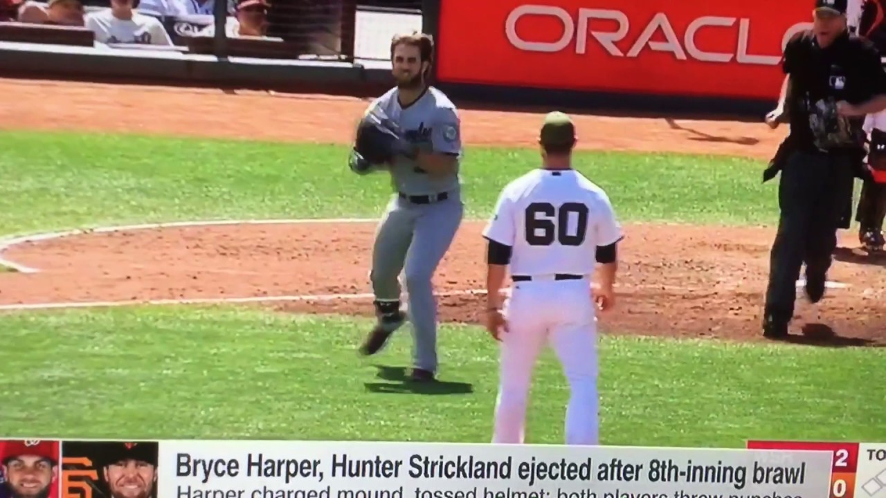 Bryce Harper and hunter Strickland fight - YouTube