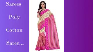 vuclip 499 Rs Shree Rajlaxmi Sarees Poly Cotton saree with Running Blouse - Less than Rs450