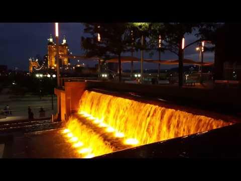 Cincinnati Ohio Cincinnati downtown riverfront waterfall of Cincinnati beautiful Cincinnati 4k video