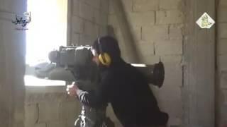تدمير دبابة T72B على تلة سيرياتل بمنطقة عزيزة في حلب بصاروخ موجه