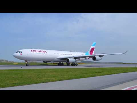 Airbus A340-300 - Eurowings Training Flight from Dusseldorf to Vienna in 4K