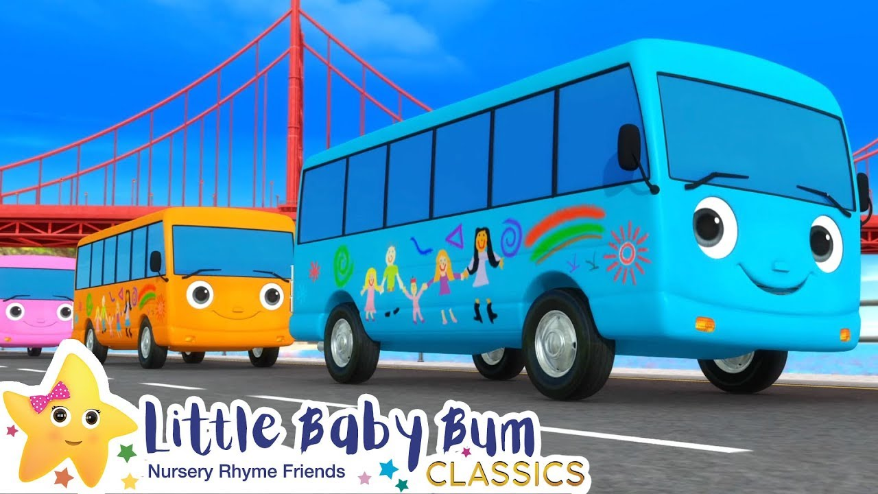 Ten Little Buses Song | Nursery Rhyme & Kids Song - ABCs and 123s | Little Baby Bum