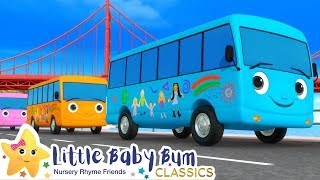 Ten Little Buses Song | Nursery Rhyme & Kids Song - ABCs and 123s | Learn with Little Baby Bum